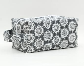 Floral Geometric on Gray/Grey Quilted Cosmetic Bag with Handle, Boxy Pouch; Boxy Bag; Make-Up Bag; Travel Bag; First Aid Kit; Shave Bag