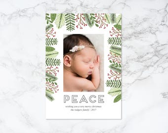 Printable Peace Watercolor Elements Rustic Frame Holiday/Christmas Photo Card