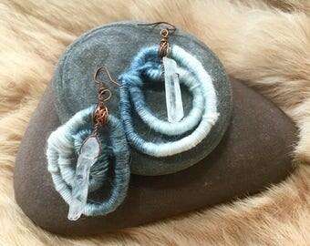 Indigo dyed wool and crystal quartz earrings