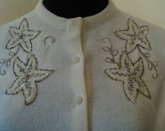 Vintage 1950's embroidered cardigan sweater