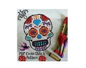 INDEPENDENCE DAY SALE Sugar Skull Cross Stitch Pattern - Pdf Pattern - Halloween Cross Stitch Pattern - Modern Cross Stitch Pattern
