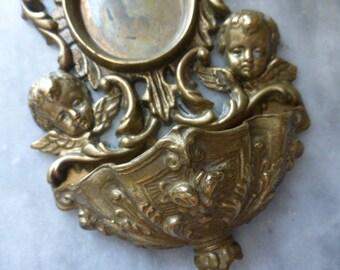 Benitier, Holy Water Font,  Bronze Cherubs, French  Vintage