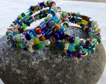 Four Wrap Memory Wire Bracelets with Colored Multiple Gemstone, Shell and Glass