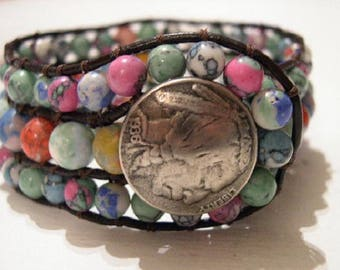 Beaded Cuff Bracelet, Boho Leather Wrap, Beaded Leather Cuff, Beaded Wrap Bracelet - 938