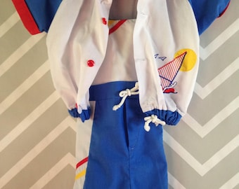 vintage nautical surfer sailing shortalls windbreaker set for baby size 12-18 months / one year
