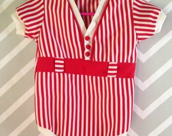 vintage red and white candy cane striped bodysuit for baby by kmart size 18-24 months / 1-2 years