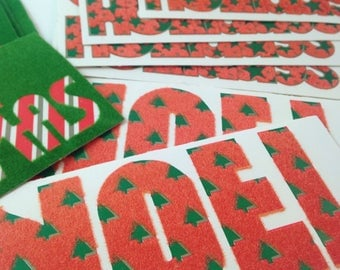vintage flocked christmas gift tags,  merry christmas, noel, happy holidays, large, set of 16