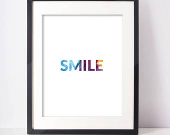 PRINTABLE ART | 8x10 SMILE Typography Printable | Instant Download Printable Wall Art | Digital Download Art | Watercolor