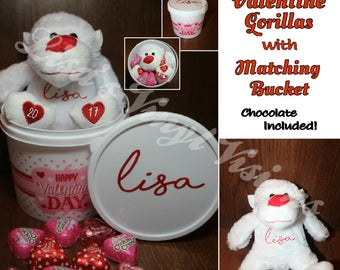 Personalized VALENTINE'S DAY PLUSH Gorilla Basket w/ a dozen Chocolate Candies.....3 colors to choose from!