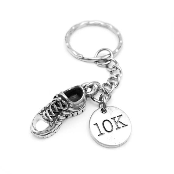 10K Marathon Running Shoe Keychain for Runners - Workout Accessories - Marathon Gift with Detailed Sneaker Charm - Stainless Steel & Pewter