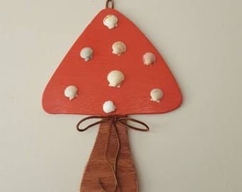 Autumn at the beach! Large Mushroom decor! Hand cut wood! Hand collected scallops, leather tie! Door Hang, Wall Art
