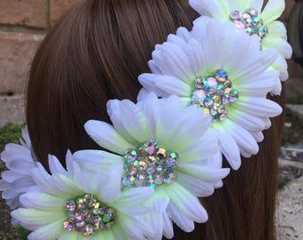 Ready to Ship Diamond Daisy goddess flower crown headband with lavender