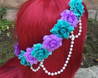 Pre-Order The Little Mermaid Rose Pearl Band Goddess Flower Crown Headband Ariel