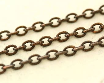 6ft Etched Petite Oval 3.5mm x 5mm Antiqued Brass Cable Chain, Oxidized Solid Brass Textured