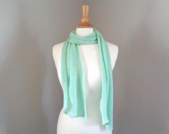 "Mint Green Diagonal Scarf, Hand Knit, Merino Wool, Simple Elegant Drapey Scarf, 7 x 60"", Women's Wrap Scarf, Teen Girls, Super Thin Scarf"
