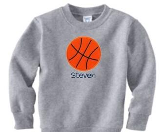 SALE Basketball Sweatshirt, Toddler Sweatshirt, Basketball Team Gift, Basketball Embroidery, Baskeball Applique, Sports Gift, Team Basketbal