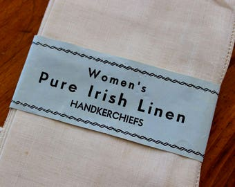 Vintage Linen Irish Hankies 5 Handkerchief Unused Tags Package White Simple Fine Drawnwork
