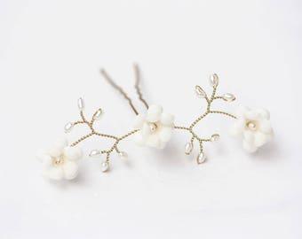 Ivory hair pins Floral hair pins Ivory flowers pins Gold hair pins Pearls hair pins Flowers pins Wedding hair pin for bride Bridal hair 82