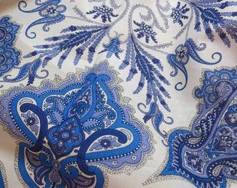LIBERTY Of LONDON Tana Lawn Cotton Fabric  'Lord Paisley' Cyan Blue Lg Fat Eighth 10X26 in
