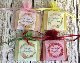 Flower Wreath Soap Favors For Shower With Organza Bags 100% Natural Cold Processed
