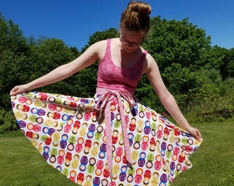 REVERSIBLE Matryoshka Doll Wrap Skirt