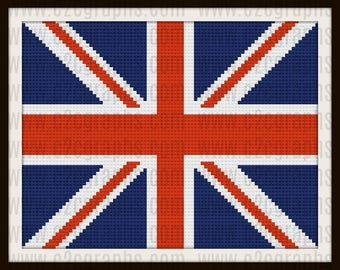 British Flag Afghan, C2C Graph, British Flag Crochet Pattern
