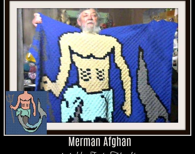 Featured listing image: Merman C2C Graph, Merman C2C Graph, Merman Corner to Corner, Merman Crochet Pattern