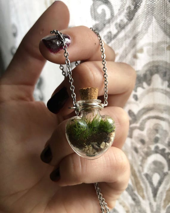 LET LOVE GROW terrarium necklace with live kentucky moss green thrive