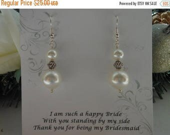 Christmas in July SALE Bridesmaid Gift, Pearl Earrings,Maid of Honor Gift,Wedding Jewelry, Sterling Silver Earrings, Gift for Best Friend, W