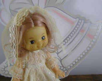 """1970's Hippie Bohemian Bride Doll. Soft Plastic 7"""" Wedding Bride Doll. Shower or Wedding Decor."""