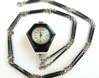 Art Deco Enamel Pendant Watch Sterling Silver with Enamel Chain Links Vintage Mechanical Watch Runs from Treasures of Grace