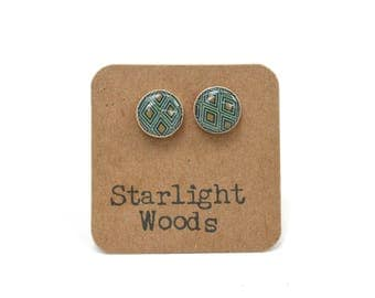 Geometric stud earrings blue and brown earrings summer outdoors wood blue studs post earrings wood earrings starlight woods