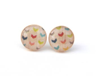Rainbow Stud Earrings, Hypoallergenic earrings