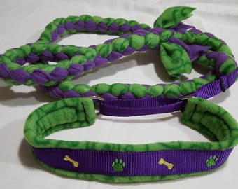 Embroidered fleece braided martingale collar/leash