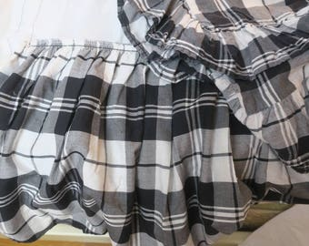 BED SKIRT kING SZ 3 pc Dust Ruffle plus 2 Pillow shams Ralph Lauren Black & White Plaid