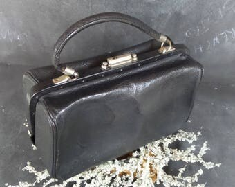 French Vintage Small Black Leather Doctors Bag.