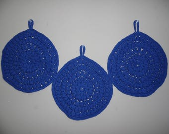 Navy Blue Hand Crocheted Table Top Hot Pad