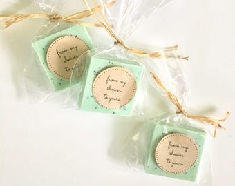 Green Wedding Favors: Soap favors for wedding, bridal shower or baby shower, green theme wedding, pantone, greenery, soap