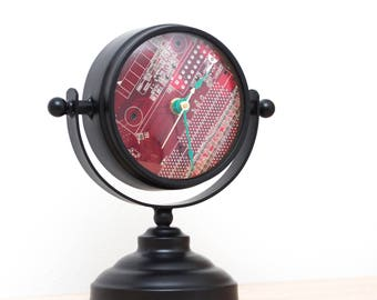 Unique Desk clock, recycled circuit board clock - red circuit board clock- ready to ship c9083