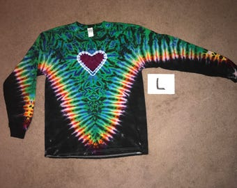 Tie Dye T-Shirt ~ Rainbow V with Purple Heart and Black Background~ i-7850 Long Sleeve Adult Large