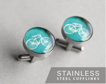 Vintage Bike cufflinks, Stainless steel cuff link, Sport cufflinks, Turquoise cuff links, Wedding cuff links for groom, groomsmen