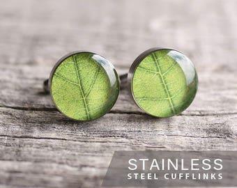 Green leaf cufflinks, nature cufflinks, botanical cufflinks, leaves cufflinks, green cufflinks, gift for him