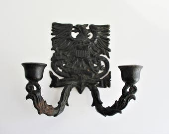 Vintage Candleholder Wilton Cast Iron Eagle Double Candleholder Americana Decor