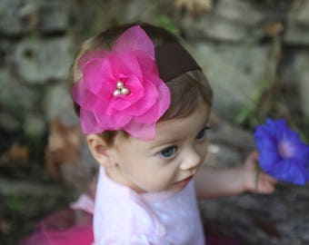Lotus Flower with Pearl Center Nylon Headband