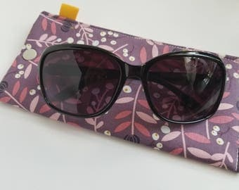 Padded Sunglass Case with Snap- Purple floral