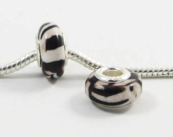 3 Beads - Black White Zebra Stripe Silver European Bead Charm E0039