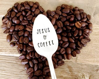 Pastor Gift, Christian Gift. Jesus & Coffee hand stamped spoon.