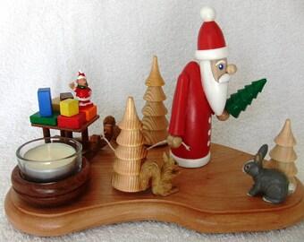 UNIQUE GERMAN HANDMADE Christmas Tea Light Holder Santa is pulling a sleigh with Presents X-mas Fir Tree Wood Turning Rabbit Squirrels