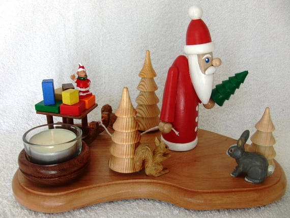 UNIQUE GERMAN HANDMADE Wooden Christmas Tealight Holder Santa is pulling a sleigh with Presents X-mas Fir Tree Wood Turning Rabbit Squirrels