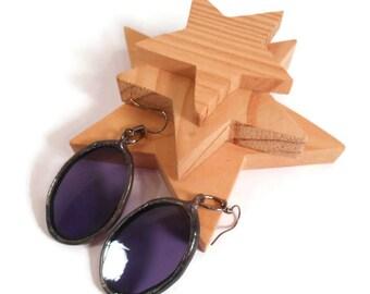 Purple Glass Earrings Stained Glass Earrings Handmade Jewelry Soldered Jewelry Purple Jewelry Oval Dangle Earrings Statement Jewelry Earring